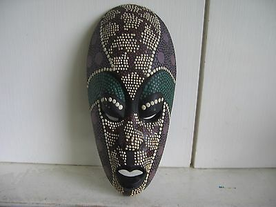 Small African Style Wooden Mask with Coloured Dots Decoration