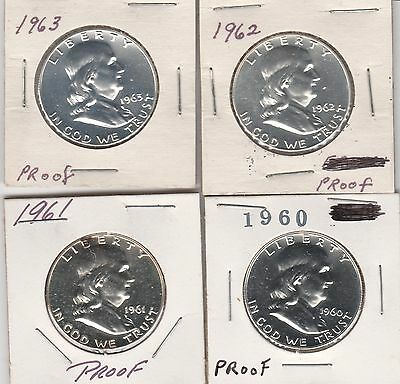 1960, 1961, 1962, 1963 Franklin Half Dollars - 90% Silver PROOF - 60's Coin Set