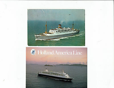 Holland America Line cruising ships, lot 2 postcards, M.S. Maasdam & Westerdam