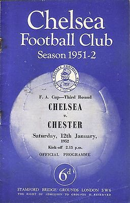 CHELSEA v CHESTER 1951/52 FA CUP 3RD ROUND