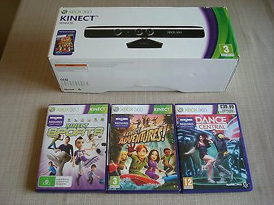 Official Xbox 360 Kinect Sensor Boxed +3 Games  Bundle, Free Recorded Postage