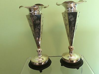 Pair CHINESE EXPORT SILVER VASES - 19th Century  - Superb!