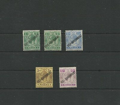 "Malta 1922 M/mint ""self Government"" Overprint Stamps Sg 106-109"