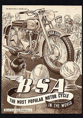 October 1951 Bsa 650 Golden Flash A10 Motorcycle. Magazine Advert.