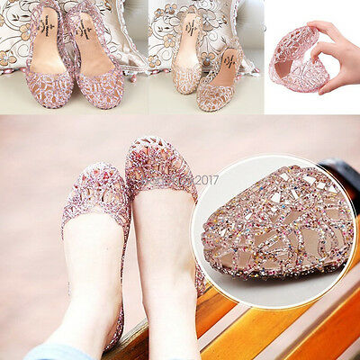 Women Summer Hot Ventilate Crystal Shoes Jelly Hollow Glitter Sandals Flat Shoes