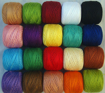 20 ANCHOR Embroidery Pearl Cotton. No.8, 20 Great Colours, Bargain Price