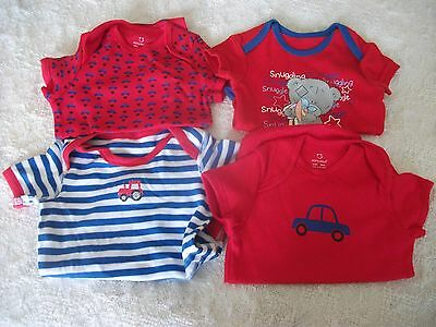 bundle of 4 bright popper vests age 0-3 mths washed but not worn