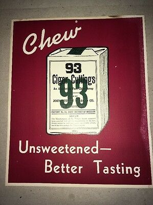 Vintage 1950's Chew 93 Cigar Tobacco Cardboard Advertising Sign STORE DISPLAY