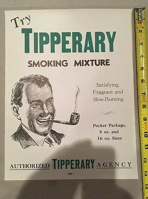 Vintage Tipperary Pipe Smoking Tobacco Mix Paper Advertising Sign STORE DISPLAY