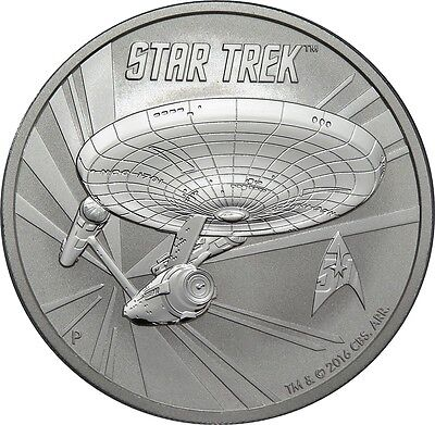 1 Dollar 2016 - Tuvalu - Star Trek - Enterprise 1 oz Silber !!