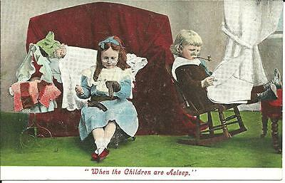"""""""WHEN THE CHILDREN ARE ASLEEP"""" (COLOUR PRINTED POSTCARD) c1910"""