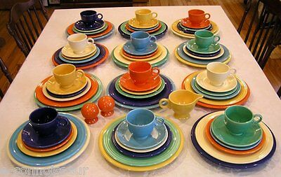 (98) Pc. Vintage Mid Century Fiestaware Primary Colors Dinner Service for Twelve