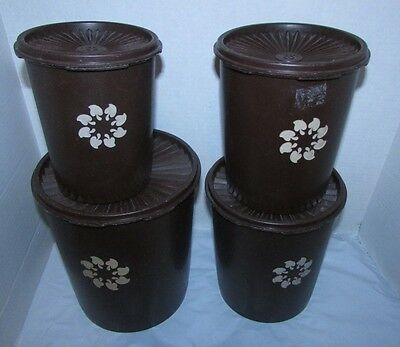 Tupperware Vintage Servalier Canister Set Brown 805 807 809 811 4 piece w/covers