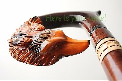 Fox - Handmade Cane Walking Stick Carved Wooden Wood Staff Crafted Art -