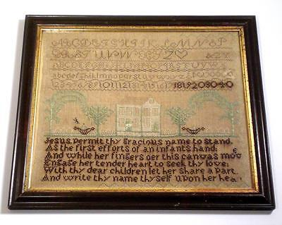 Early 19th Cent AMERICAN HOUSE & LAWN Antique SAMPLER c.1830s, Good Period Frame
