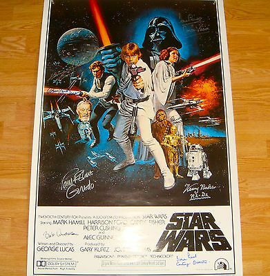 "Star Wars Autographed Poster 27"" x 41"" A New Hope Signed by 9 Kenny Baker"