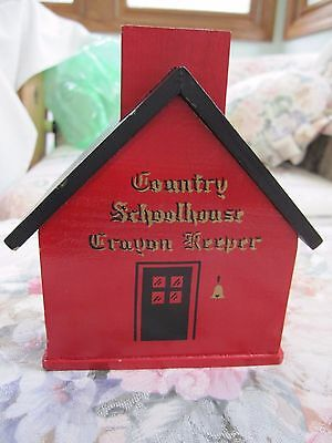 Vintage Crayon Wood Box red COUNTRY SCHOOLHOUSE CRAYON KEEPER toy
