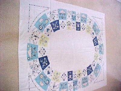 Vintage Printed Tablecloth - Flowers & Flower Pots -Blue And Green Colors
