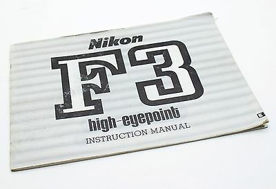 Nikon F3 High-Eyepoint Owners Manual Instructions Book