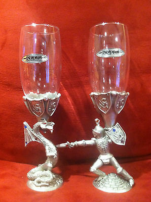 Excalibur Hotel Wine Glasses RARE Pewter Dragon Knight  Jeweled Must see!