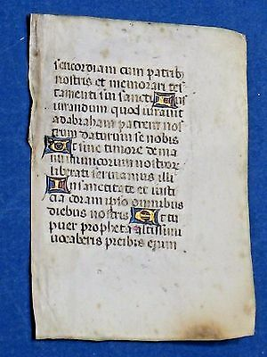 Mini Medieval Manuscript Leaf,Book of Hours,Latin,Vellum,Gold Initia.c.1460