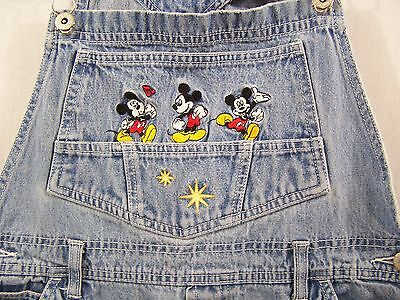 Mickey Unlimited Jeans Embroidered Mickey Mouse Denim Bib Overalls Size Medium