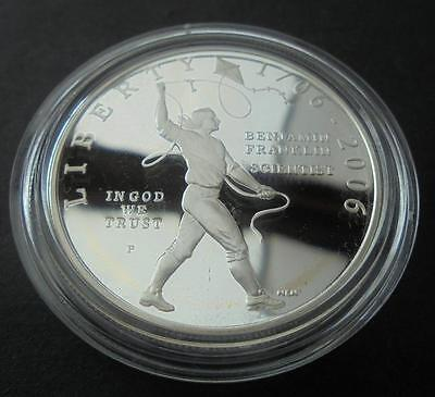 USA 2006 - P Silver $1 One Dollar Proof Benjamin Franklin Science Coin With COA