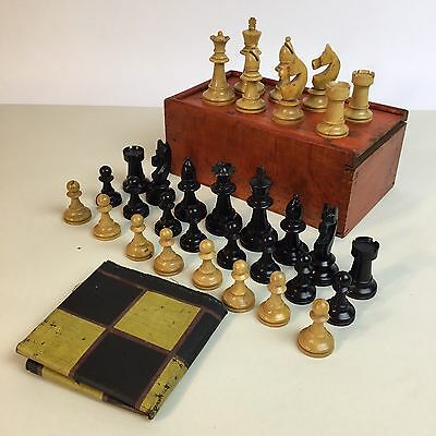 Vintage Boxed Wooden Chess Set With Roll Up Chess Board