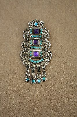 Malt Mexico Taxco Sterling Pin/pendant Glass Cabochons Turquoise Stones M. Regis