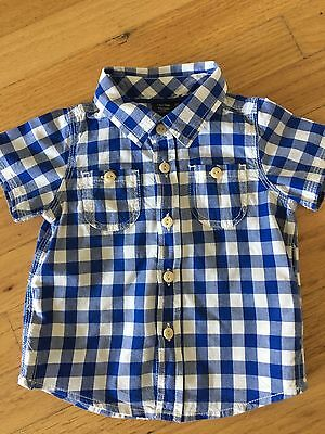 Baby Gap Super Cute Blue And White Check Short Sleeve Shirt Age 6-9 Months Vgc