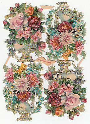 Oblaten Glanzbild  scrap die cut chromo alter Bogen von M&S Blumenpokale