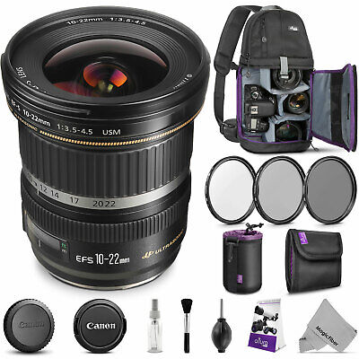Canon EF-S 10-22mm f/3.5-4.5 USM Lens for Canon DSLR with Accessories Bundle