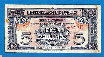 England M20a 5 Shillings ARMED FORCES 2nd Series Red Serial # w/ Strip 1948 VF+
