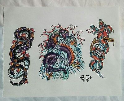 Vintage Tattoo Flash Art by B.C. Original Master Copy Snakes Dragon Knife