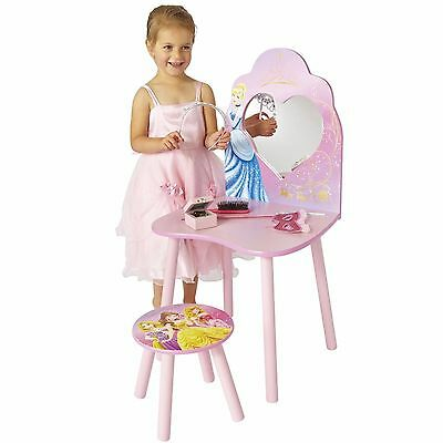 Childrens Dressing Table Set With Stool And Mirror Makeup Kids Disney Princess
