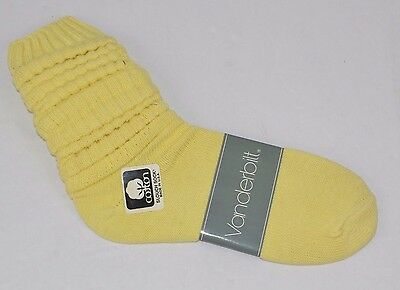 VINTAGE 1980's 1 Pair Cotton SLOUCH Baggy Socks Light Yellow - NEW OLD STOCK