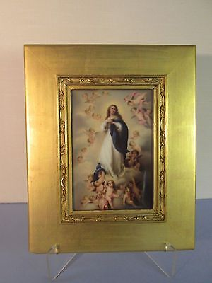 PORCELAIN PLAQUE antique hd painted THE ASCENSION Mary Cherubs artist signed
