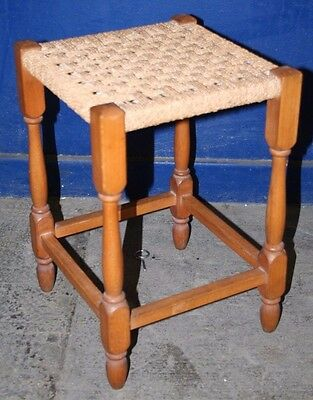 ~Old ~Vintage ~Oak ~Ratten ~Seagrass ~Woven ~Stool ~VGC~