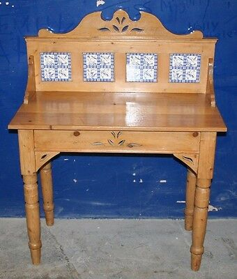 ~Vintage ~Antique ~Waxed ~Pine ~Dressing Table ~Wash Stand ~Tile Back ~VGC~