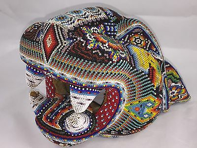 "Large 9"" Wood Seed Bead Mexican Native American Indian Huichol Jaguar Head"