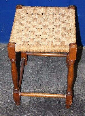 ~Antique ~Vintage ~Oak Stool  ~Woven Top ~Rattan ~VGC~