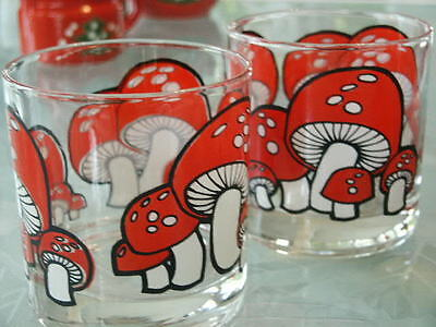 "3 Vintage 1960's Retro Red Mushroom Rock Barware Glasses 3 1/2"" Ocean House"
