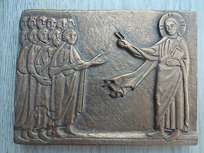 Wonderful work of sacred art! Modern German bronze plaque, bibilcal scene - LOOK
