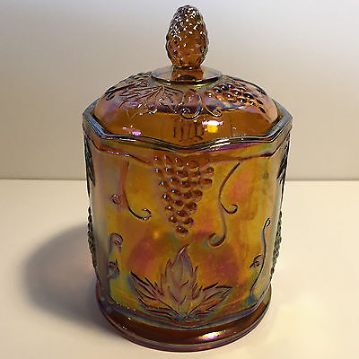 Amber Carnival Glass Lidded Candy Dish