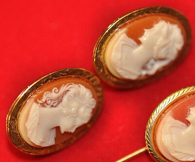 Vintage Lady Cameo Clip on Earrings Silvertone Etched Setting