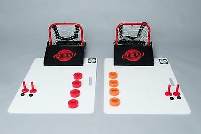 The Original Hockey Sauce Party Kit with Pegs Saucer Pass Game Puck Catcher