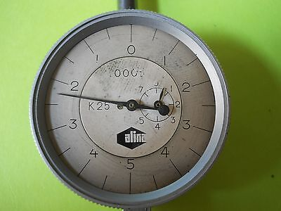 """Vintage Alina dial indicator reads in .0005"""" Swiss made"""