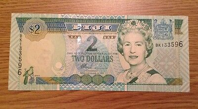 Fiji Banknote. Two Dollars. Unc. Queens Image.