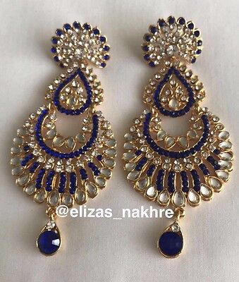 Indian/Pakistani Bollywood Style Blue And Gold Colour Drop earrings