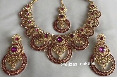 Pink and Gold Bollywood Style Kundan Necklace Set With Earrings And Tikka